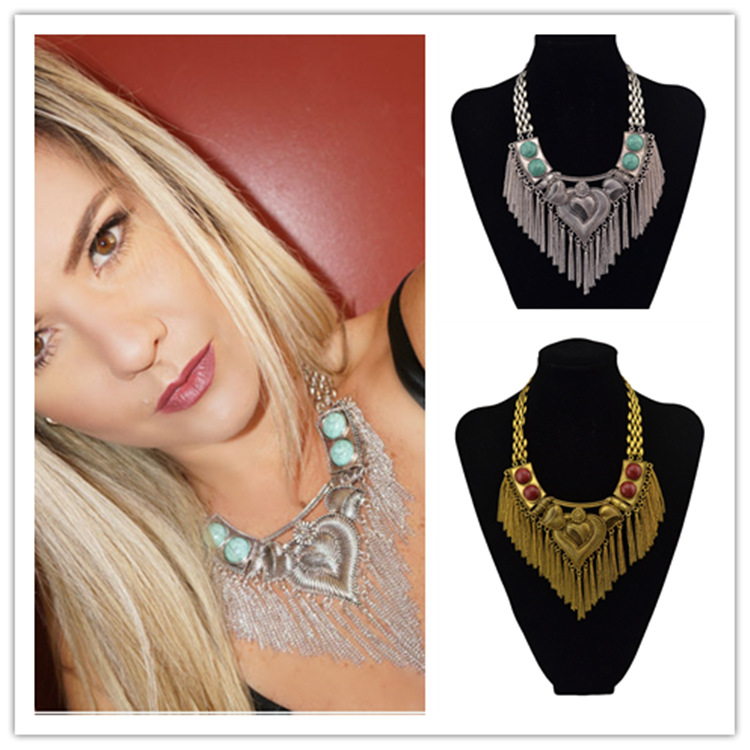 2017 Vintage Gold Silver Heart Shape Alloy Turquoise Anniversary Chains Statement Necklace