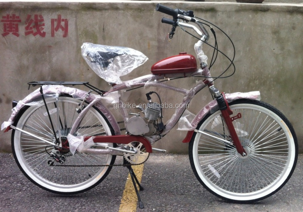 26inch beach cruiser gas engine bicycle 50CC engine bike moto bike