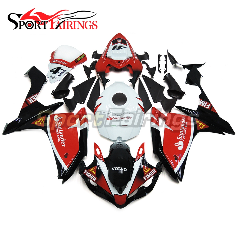 FIMER 41 Red White ABS Injection <strong>Fairings</strong> For Yamaha YZF <strong>R1</strong> 07 <strong>08</strong> Plastic Injection Motorcycle Kit Body Kits Covers