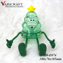 Plastic bauble with bendable arms and legs in shape of Christmas tree