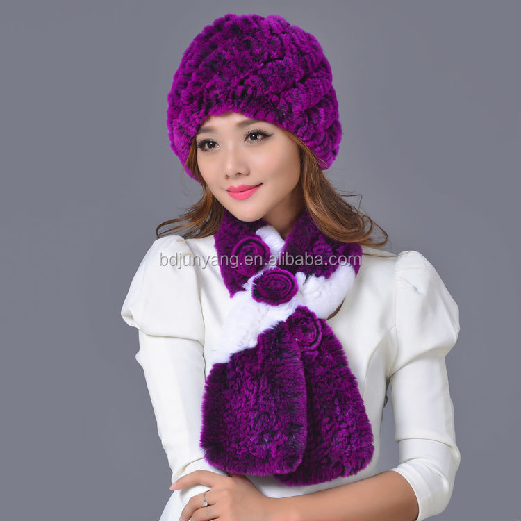 Fashion knitted fur ball beanie russian military fur hat