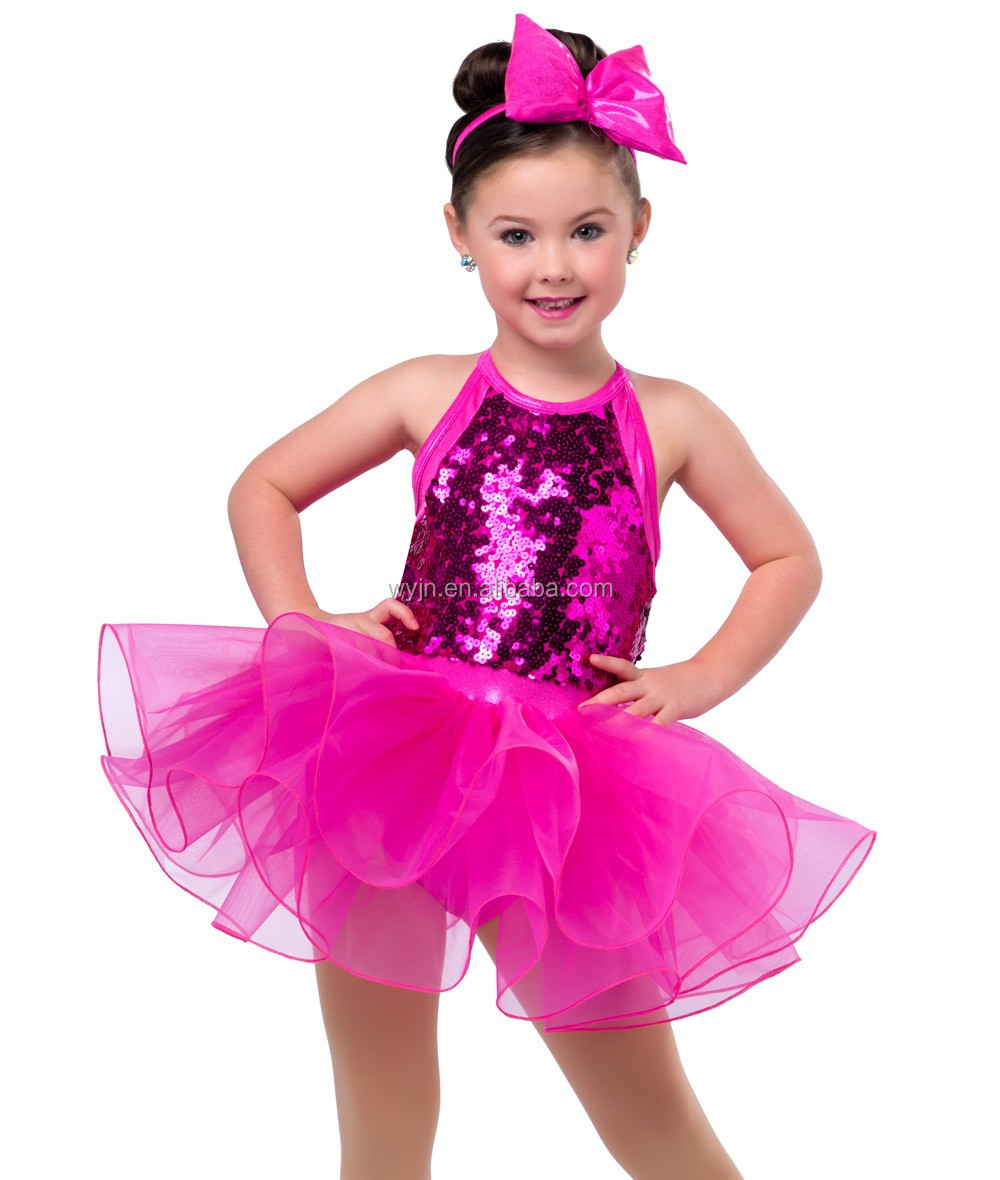 2017 Wholesale kid white sequin dress girls hot pink ballet tutu dress