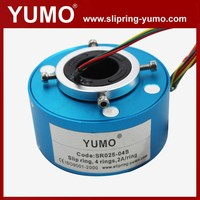 SR025 4 wires rotating connector carbon brush holder hole through bore slip ring rotating electrical contacts