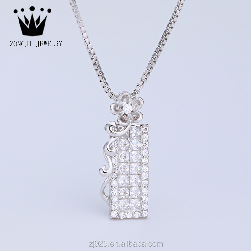 Wholesale 925 Sterling Silver Platinum Cz Pendants With Flowers For Ladies