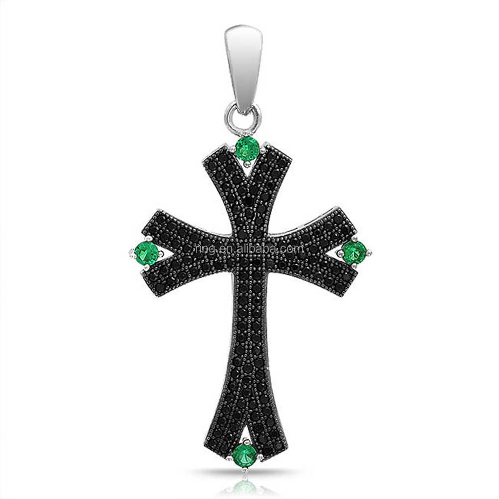 Fashion Jewelry Pave Black Onyx Emerald Color Crystal Forked Cross Pendant
