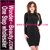 Wholesale fashion contrast color long sleeve cocktail party dress