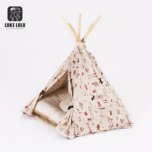 Red Stripe Canvas Pet Bed Teepee Indian Tents For Small Dog