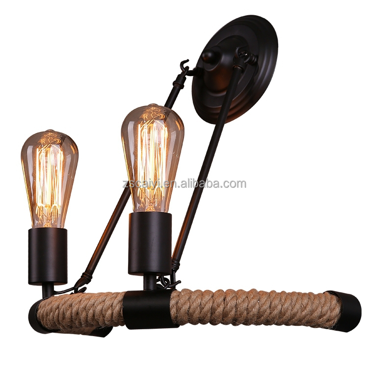 Home decoration loft American country style wrought iron vintage industrial decorative wall lamp With Edison Bulb
