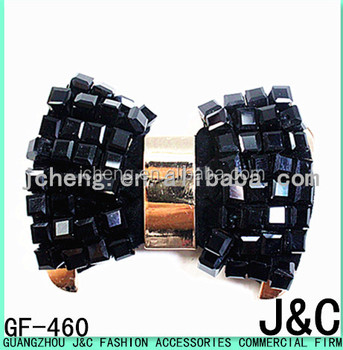 Jet Black Color Glass Beads Decorated Shoe Bow