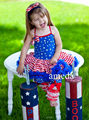 Girls 4th July Patriotic Blue Star Red Stripes Pettidress with Matching Warmers and Headband