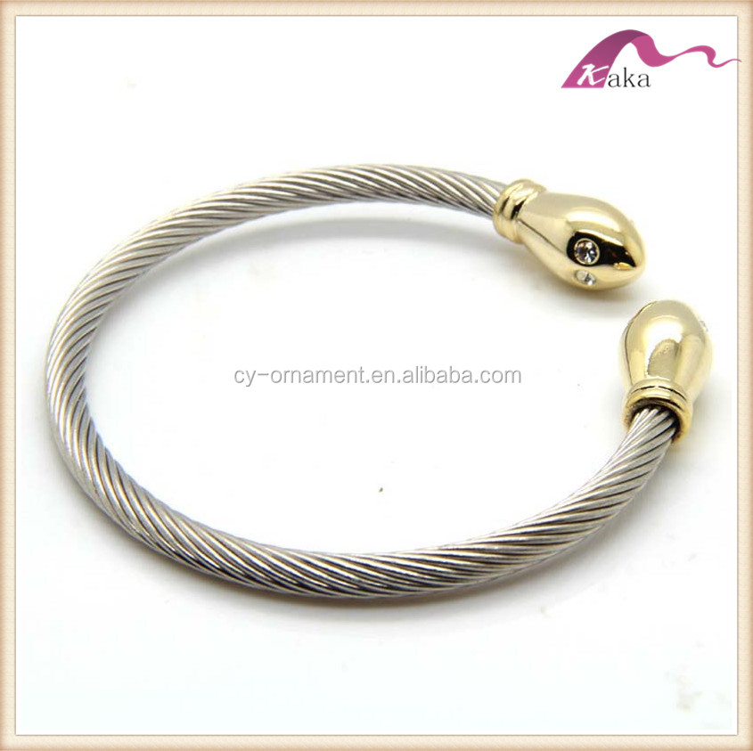 Fashion silver gold double plating color stainless steel wrist bangle for women punk jewelry accessory