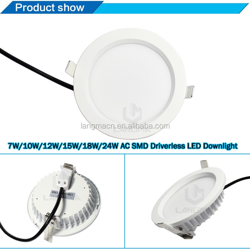 2017 New desigh 7w 10w 12w 15w 18w 24w AC COB driverless downlight leds dimmbar adjustable roun thinled downlight with SAA