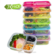 2017 best Meal Prep Containers 3-Compartment Lunch Boxes Food Storage Containers with Lids, BPA Free Plastic Bento Box Set of 7