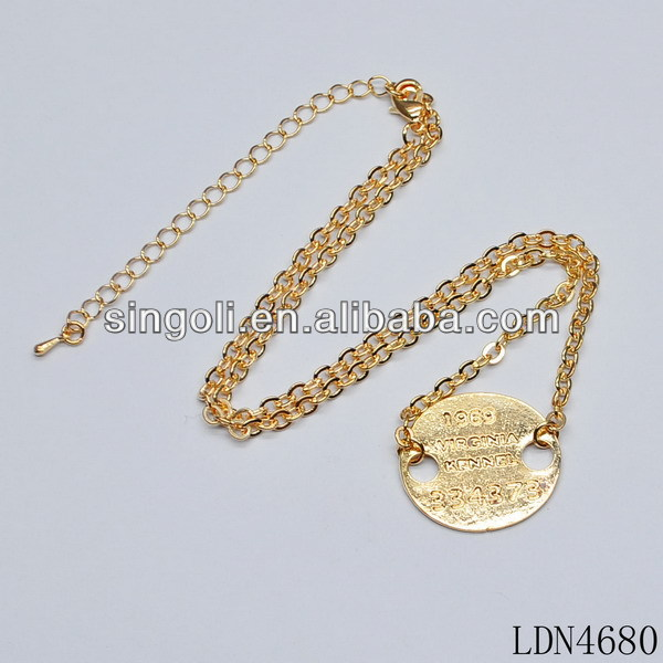 2014 gold token pendant necklace with gold chian