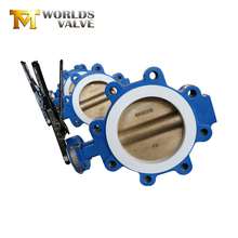 Slim disc concentric gear stainless steel PTFE lined lug butterfly valves