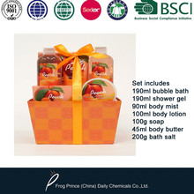 bath gift set includes bubble bath and shower gel and bath salts and body lotion and body butter and soap and body mist