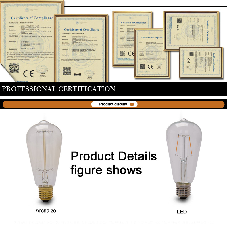 Quad loop Vintage Filament Edison Bulb Antique Decoration Light Bulb A19 25W