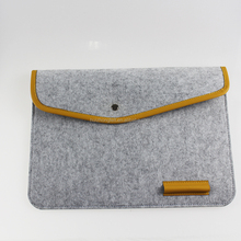 Multi-function basic 13 inch portable leather edge felt laptop sleeve cover bag with pen holder, tablet computer protect sleeve