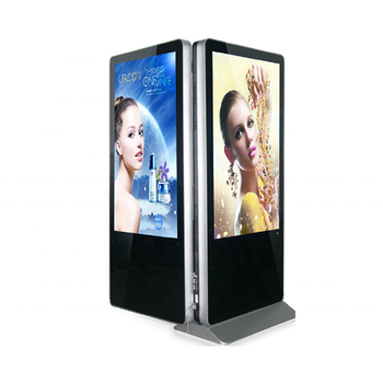 "49"" Dual screen commercial floor stand advertising equipment Android wifi IR touch indoor AD player digital signage"