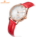 Assisi Red Color Genuine Leather Watch Japan Automatic Movement For Lady or Women Watch
