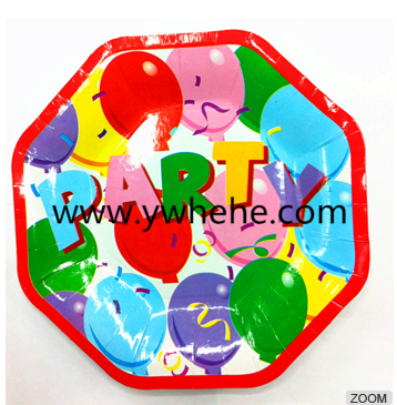 Colorful Balloons Printed Disposable Octangle Shape Paper Plates