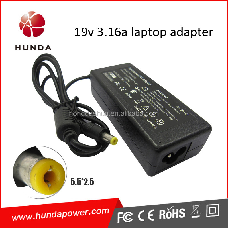 Cheap Buy Laptop Accessories 60w 19v 3.16a AC Adapter for Toshiba Laptop 5.5x2.5 Pin EU Plug