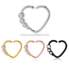 Surgical Steel Heart Seamless Ring Nose Piercing