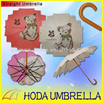 Maple Style Telescopic Advertising Children Umbrella for Promotional wooden shaft