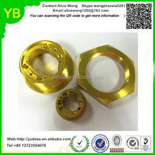 Custom high quality steel/aluminum/brass/plastic cnc machine parts,golden cnc milling part,red anodizing cnc part