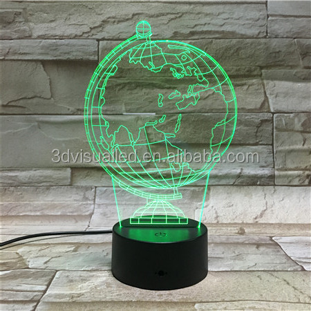 changed Color colorful 3D led light, 3d acrylic earth shape night lamp