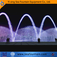 round stainless steel various color lights sculpture garden water fountains