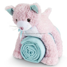 Cheap cute plush cat toy pink plush stuffed kid and baby animal shaped sleeping bag