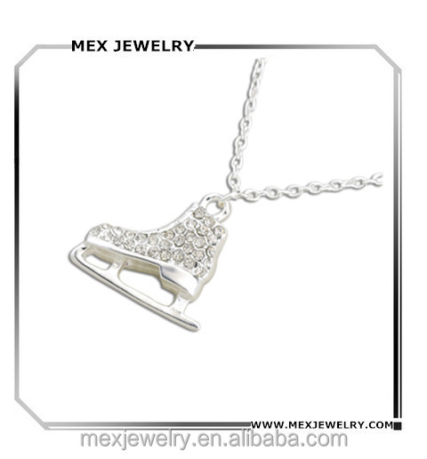 Wholesale alloy clear rhinestone Skating Shoe Pendant Necklace sport jewelry