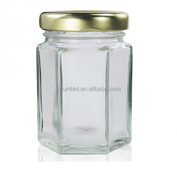 Wholesale 55ml hexagonal glass jar with lid