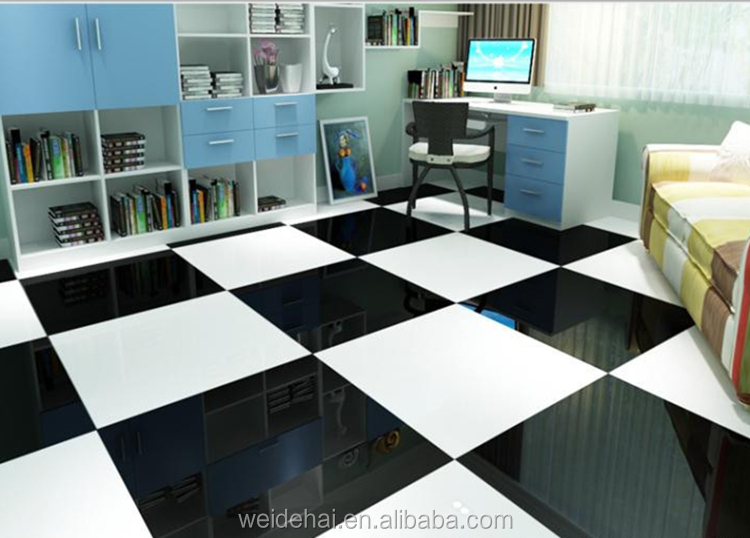 hall patterns 600*600 polished porcelain super black and white floor tiles
