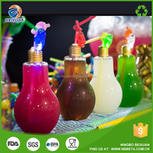 LED light bottle with drinking straw flash light bulb bottle empty water bottle with led light