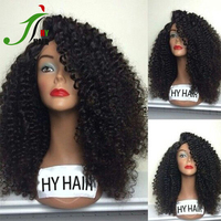 2016 New Indian Human Hair 180% Density Full Lace Wig With Baby Hair Afro Kinky Curly Human Hair Silk Top Wig