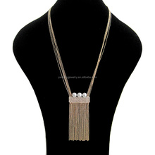 Newly gold plated thick bead chain pearl rhinestone tassel necklace