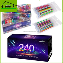 120 Unique Colors 24 Glitter Gel Pen Milky Metallic and Neon Gel Pen add 120 ink refill