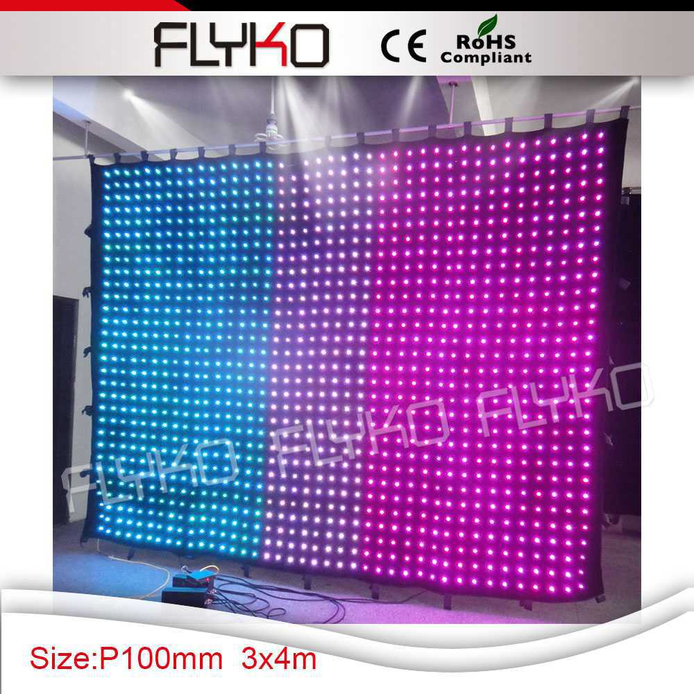 LED Video Curtain 1200pcs Tricolor Leds For DJ Wedding Backdrops Event Nightclub with on line pc controller stage light