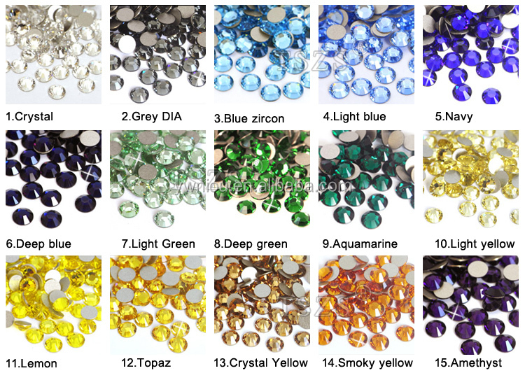 1440pcs Super Shine nail art rhinestone flat bottom Glass Stone beads