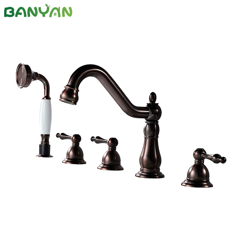 5 holes 3 lever oil rubbed bronze bath faucet