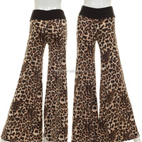 WIDE LEG LEOPARD PRINT CONTRAST PANTS,women leopard pants,ladies animal print pants