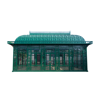 wrought iron round gazebo with glass and metal plate roof
