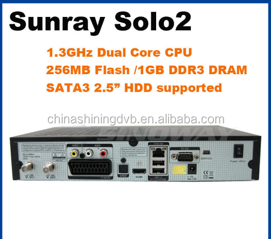 sunray version genius softeare vu Series HD solo 2 dual core cpu 1.3GHz 1GB DDRS decoder Linux reciever 1300 MHz twin dvb t2