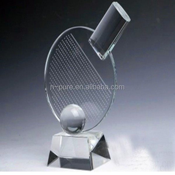 Blank Table Tennis Shaped Crystal Sports Trophy