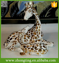 Fashion Handmade modern wonderful Home Decor Gold giraffe sculpture