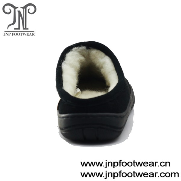 Leather upper sheep wool lined wholesale custom logo slippers for men