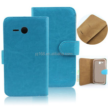 Crystal line cell phone flip leather cover case for HUAWEI Y600
