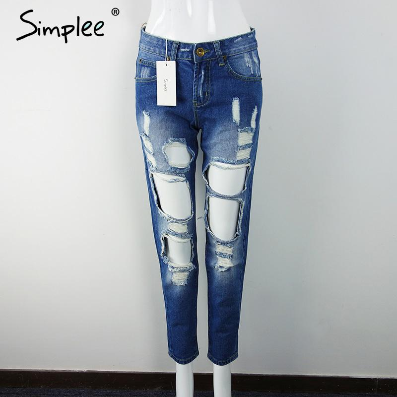 Simplee 2017 Boyfriend jeans manufacture China denim jeans for girl Mid waist casual pants female with ripped hole